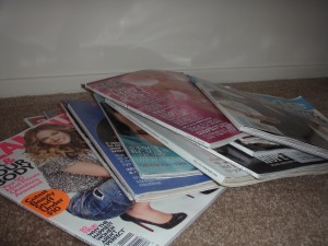 What was left of the magazine mountain after parting with about six.