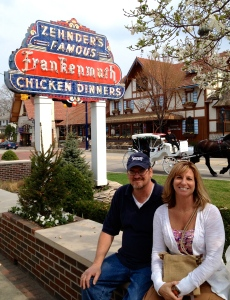 My adorable parents in Frankenmuth. My dad is playing it cool, but he's as excited as a kid on Christmas morning for his chicken dinner.